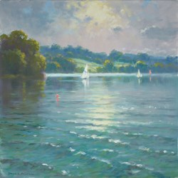 Sailing at Carsington by James Preston - Original Painting on Stretched Canvas sized 16x16 inches. Available from Whitewall Galleries